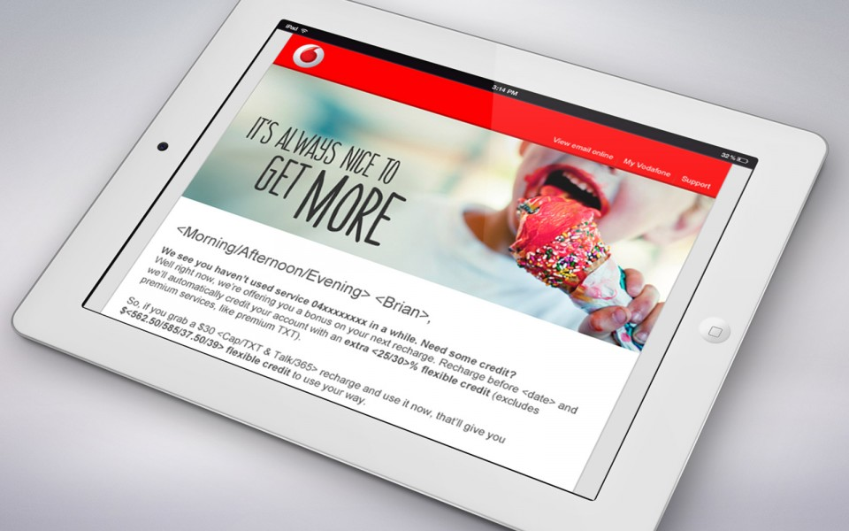 Vodafone email campaigns