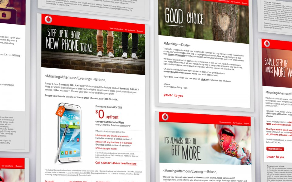 Vodafone EDMs. Email campaigns