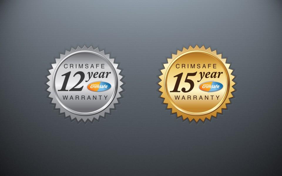 Crimsafe Security warranty logos