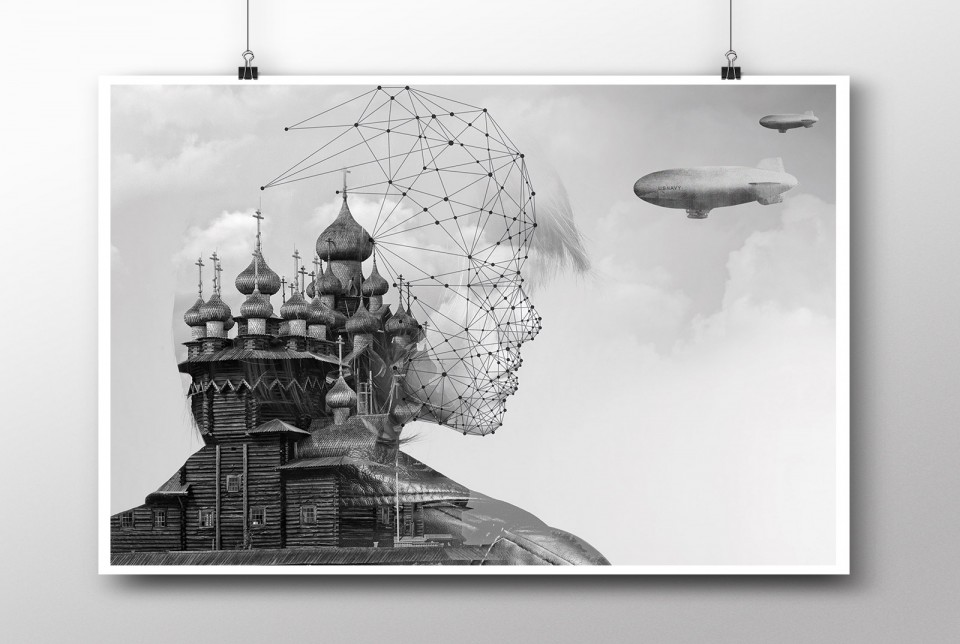 Double exposure Human Shield Poster