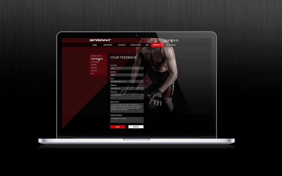 SPRINNT tablet website mock up