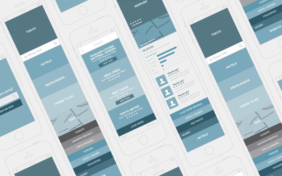Trip Advisor Mobile App Design Wireframes