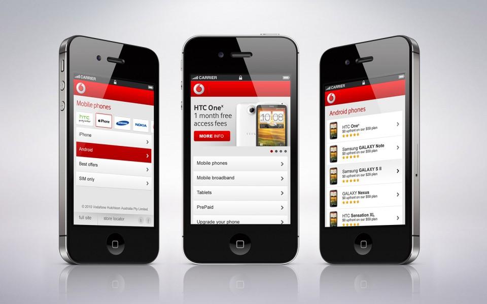Vodafone mobile website design