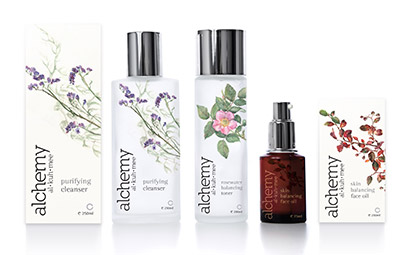 Alchemy Skin care range packaging design