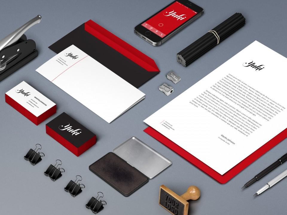 yuki designs logo stationery